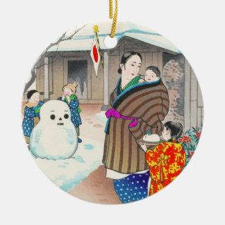 Hiyoshi Mamoru A Snow Man shin hanga winter scene Christmas Ornaments