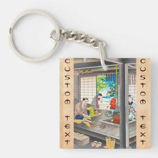 Hiyoshi Mamoru A Straw Sandle Maker Double-Sided Square Acrylic Keychain