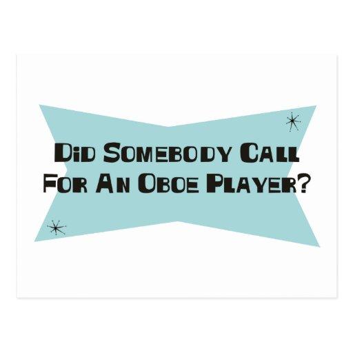 Hizo alguien llamada para un jugador de Oboe Tarjeta Postal