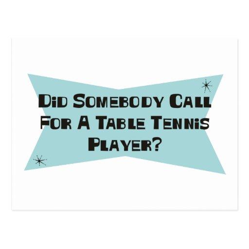 Hizo alguien llamada para un jugador de tenis de m tarjeta postal
