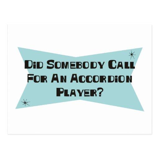 Hizo alguien llamada para un jugador del acordeón tarjetas postales