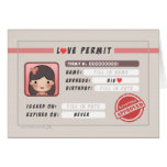 HJ-Story Love Permit - Girl Stationery Note Card