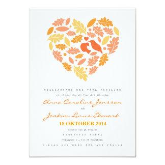 Hjärta med Fåglar och Löv Bröllopskort Card