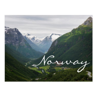 Hjelle valley in Norway text postcard