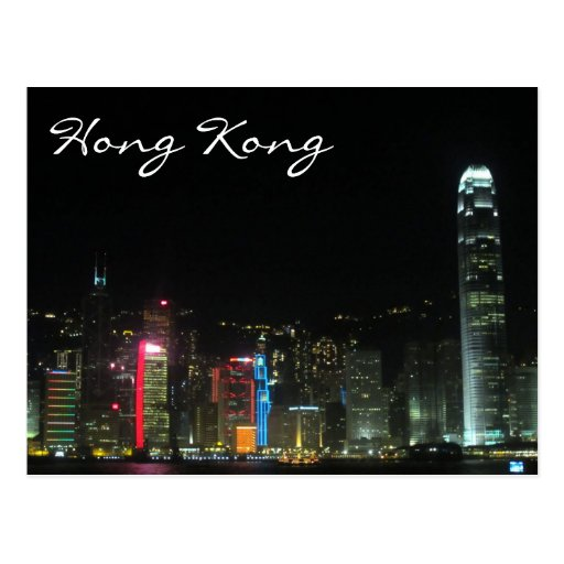 hk night lights post card