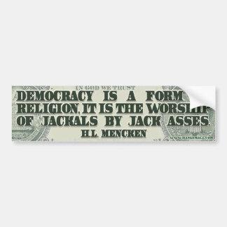 HL de Mencken en democracia Pegatina De Parachoque