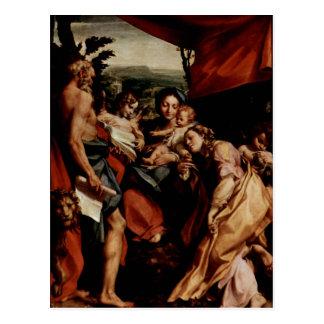 Hl del DES de Correggio Madonna. Hieronymus (etiqu Tarjetas Postales