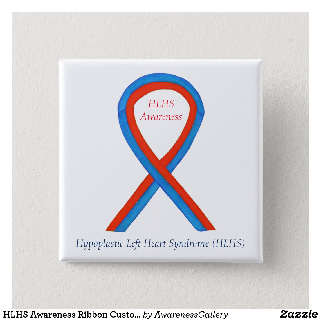 HLHS Awareness Ribbon Customized Art Button Pins