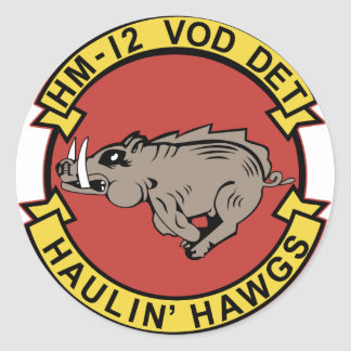HM-12 Vertical Onboard Delivery Detachment Classic Round Sticker