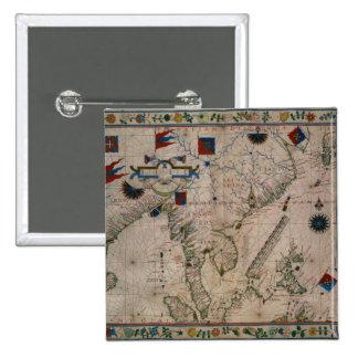 HM 41 el Extremo Oriente, de un atlas portolan Pin Cuadrada 5 Cm