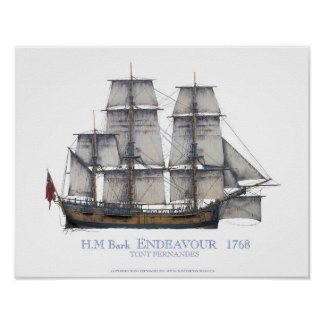 HM Bark Endeavour 1768, tony fernandes Poster
