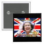 HM Queen Elizabeth II Diamond Jubilee 2 Inch Square Button
