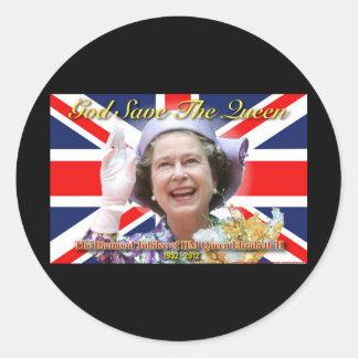 HM Queen Elizabeth II Diamond Jubilee Round Stickers