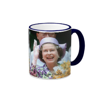 HM Queen Elizabeth II-Hong Kong-1987 Ringer Coffee Mug