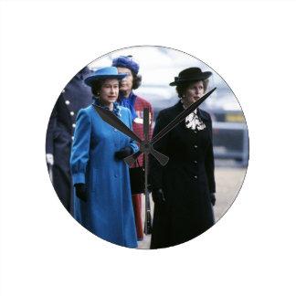 HM Queen Elizabeth II-Margaret Thatcher Round Wallclock