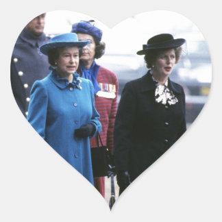 HM Queen Elizabeth II-Margaret Thatcher Heart Sticker