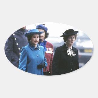 HM Queen Elizabeth II-Margaret Thatcher Oval Sticker