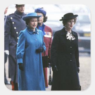 HM Queen Elizabeth II-Margaret Thatcher Square Sticker