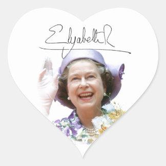 HM Queen Elizabeth II Heart Stickers