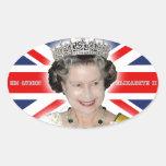 HM reina Elizabeth II - favorable foto Pegatina De Oval
