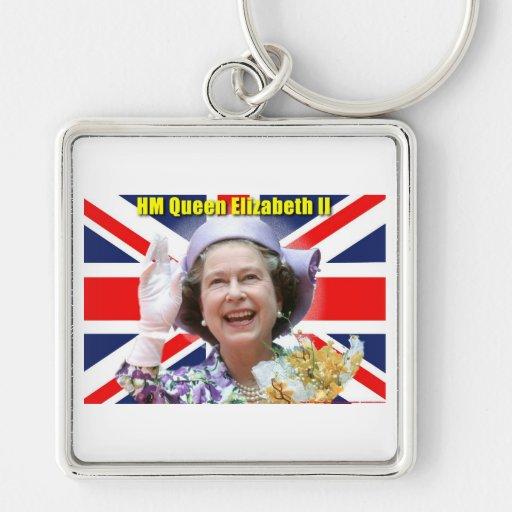 HM reina Elizabeth II Llavero Cuadrado Plateado