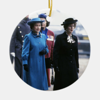 HM reina Elizabeth Ii-Margaret Thatcher Adorno Navideño Redondo De Cerámica