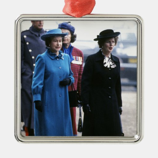 HM reina Elizabeth Ii-Margaret Thatcher Adorno Cuadrado Plateado