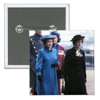 HM reina Elizabeth Ii-Margaret Thatcher Pin Cuadrado