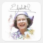 HM reina Elizabeth II Pegatinas Cuadradases Personalizadas