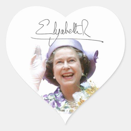 HM reina Elizabeth II Colcomanias De Corazon Personalizadas