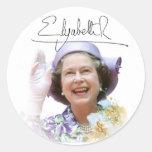 HM reina Elizabeth II Pegatinas Redondas
