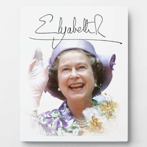 HM reina Elizabeth II Placa De Madera