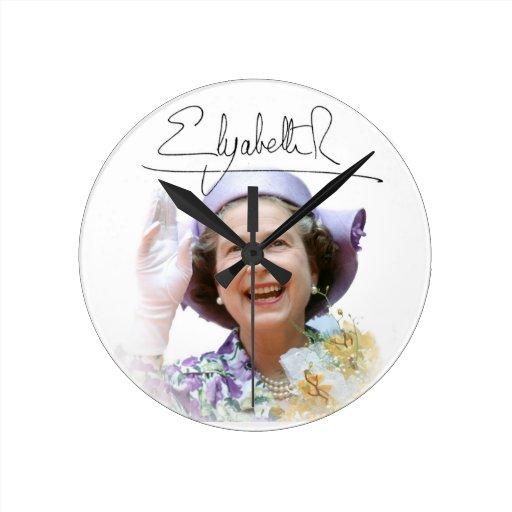 HM reina Elizabeth II Reloj Redondo Mediano