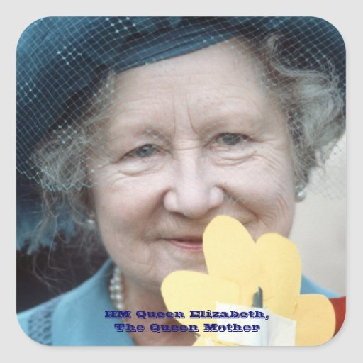 HM reina Elizabeth, la reina madre 1984 Pegatina Cuadrada