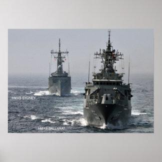 HMAS Sydney (FFG 03) and HMAS Ballarat (FFG 155)+ Poster