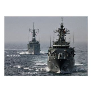 HMAS Sydney FFG 03 y HMAS Ballarat FFG 155 + Poster