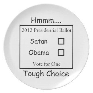 Hmmm Tough Choice Satan vs. Obama 2012 Dinner Plate