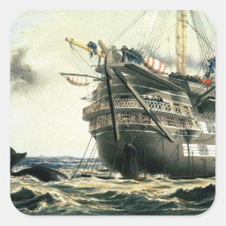 HMS Agamemnon que pone el cable atlántico Pegatina Cuadrada