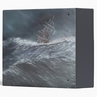 HMS Beagle in a storm off Cape Horn 3 Ring Binder