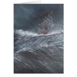 HMS Beagle in a storm off Cape Horn Card