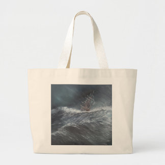 HMS Beagle in a storm off Cape Horn Large Tote Bag