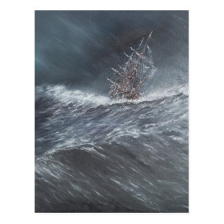 HMS Beagle in a storm off Cape Horn Postcard