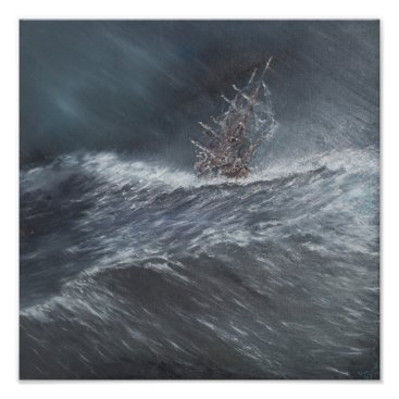 BridgemanStudio HMS Beagle in a storm off Cape Horn Poster
