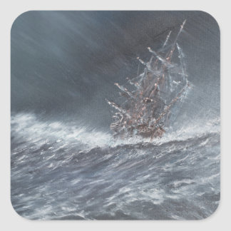 HMS Beagle in a storm off Cape Horn Square Sticker
