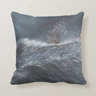 HMS Beagle in a storm off Cape Horn Throw Pillow