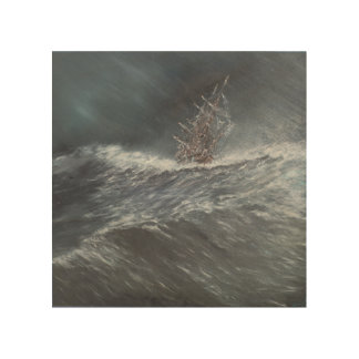HMS Beagle in a storm off Cape Horn Wood Wall Decor