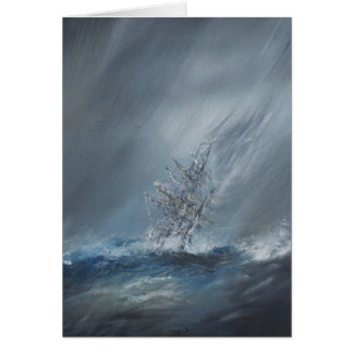 HMS Beagle in Storm off Cape Horn 24th December Greeting Card