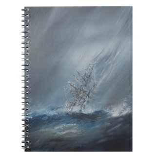 HMS Beagle in Storm off Cape Horn 24th December Notebook