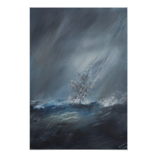 HMS Beagle in Storm off Cape Horn 24th December Poster