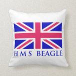 HMS Beagle UK Flag Throw Pillow